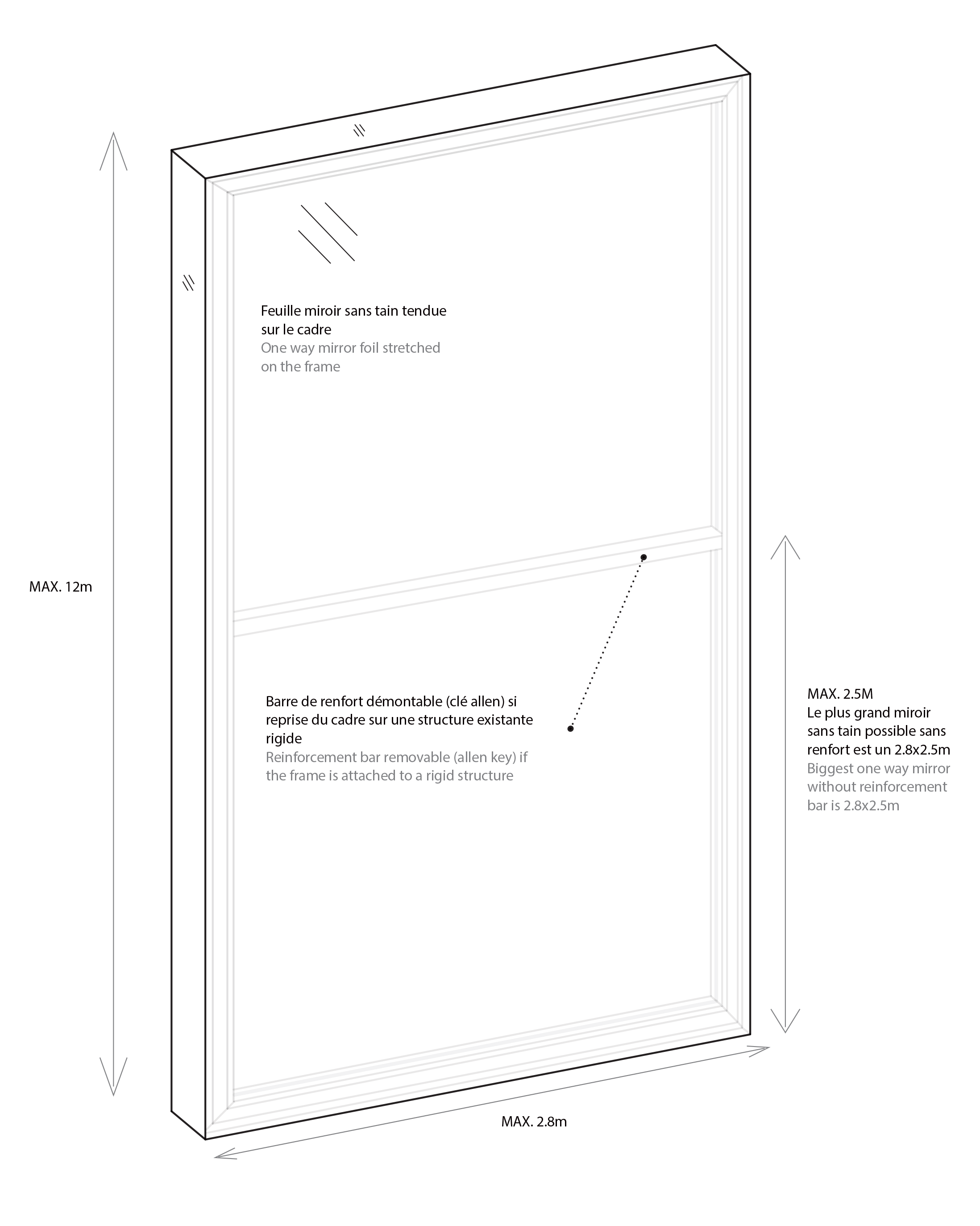 Informations techniques du Miroir Sans Tain Like Mirror